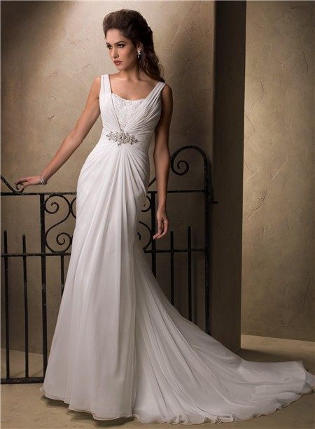 Slim A Line Sheath Empire Waist Chiffon Crystal Wedding Dress With Cowl Back