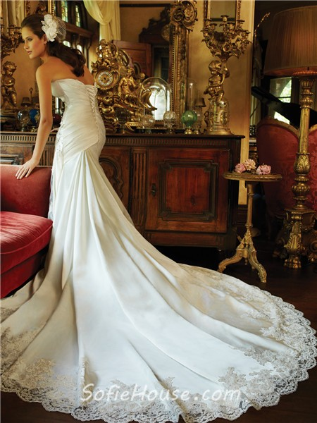 dbd55a46d Slim A Line Strapless Sweetheart Corset Back Ivory Lace Satin Ruched Wedding  Dress