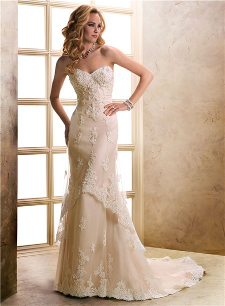 Slim A Line Sweetheart Champagne Beaded Lace Wedding Dress With Buttons