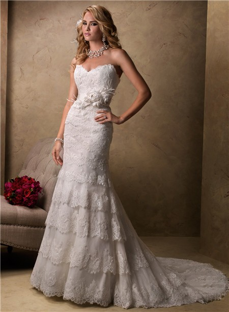 Slim a line sweetheart scalloped layered lace wedding for Lace flower wedding dress