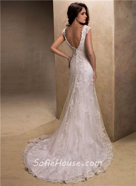 Slim a line v neck cap sleeve low back lace beaded wedding dress junglespirit Image collections