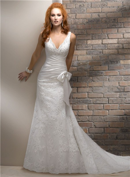 Slim a line v neck lace beaded wedding dress with bow for Beaded corset wedding dress