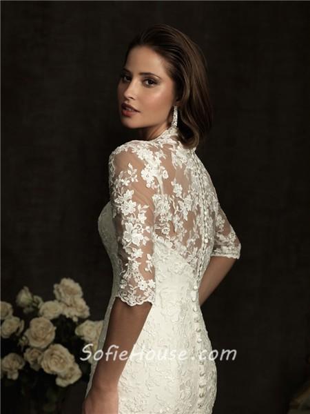 Slim A Line V Neck Sheer Back Ivory Lace Wedding Dress With Sleeves. A Line Lace Wedding Dress With Sleeves. Home Design Ideas