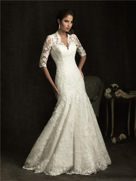 Slim A Line V Neck Sheer Back Ivory Lace Wedding Dress With Sleeves