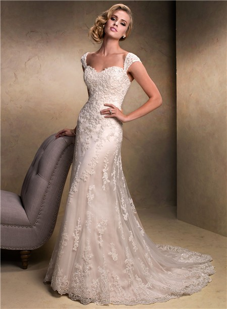 Slim A line Sweetheart Champagne Colored Lace Wedding Dress With ...
