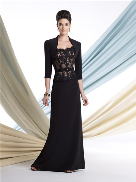 Black Lace Chiffon Mother Of The Bride Evening Dress With Bolero ...