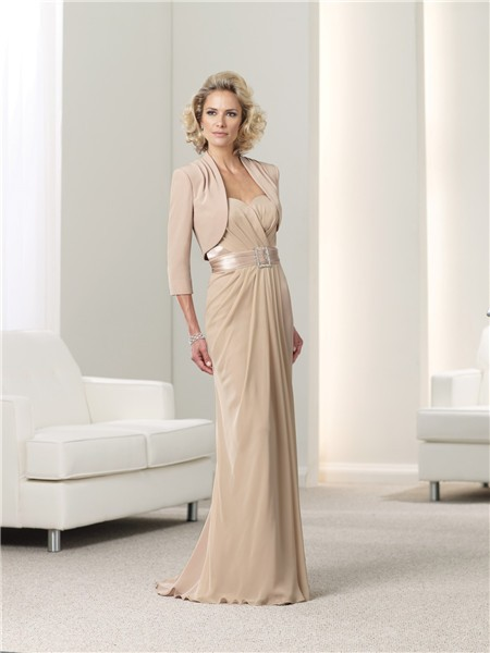 Slim Champagne Chiffon Mother Of The Bride Evening Dress With Bolero Jacket Belt