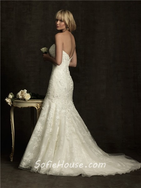 Slim fitted mermaid strapless empire waist ivory lace for Ivory empire waist wedding dress