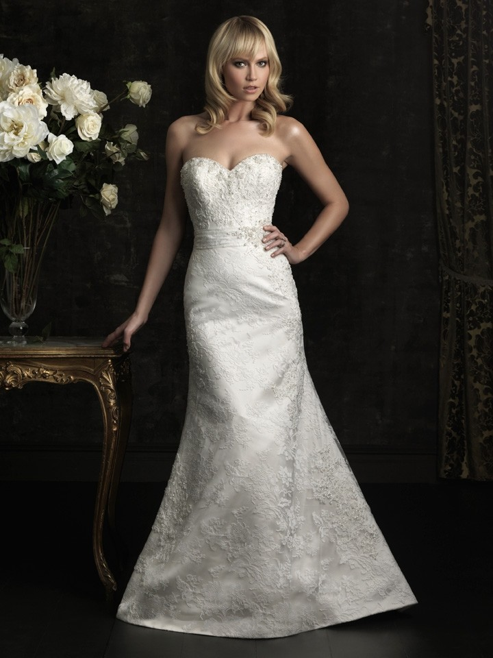 slim fitted mermaid strapless lace beaded wedding dress