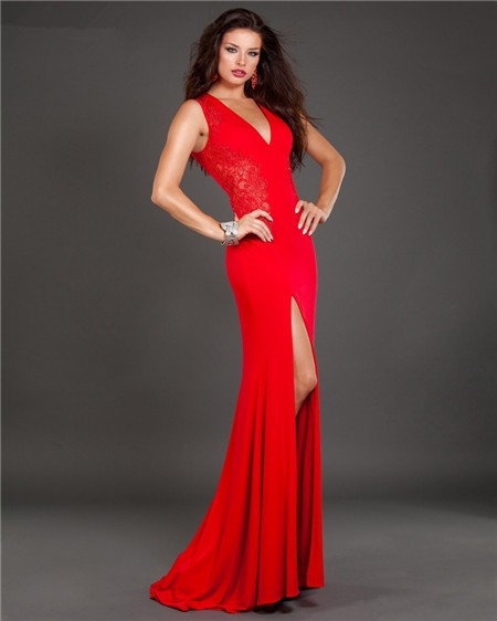 Red slim prom dress