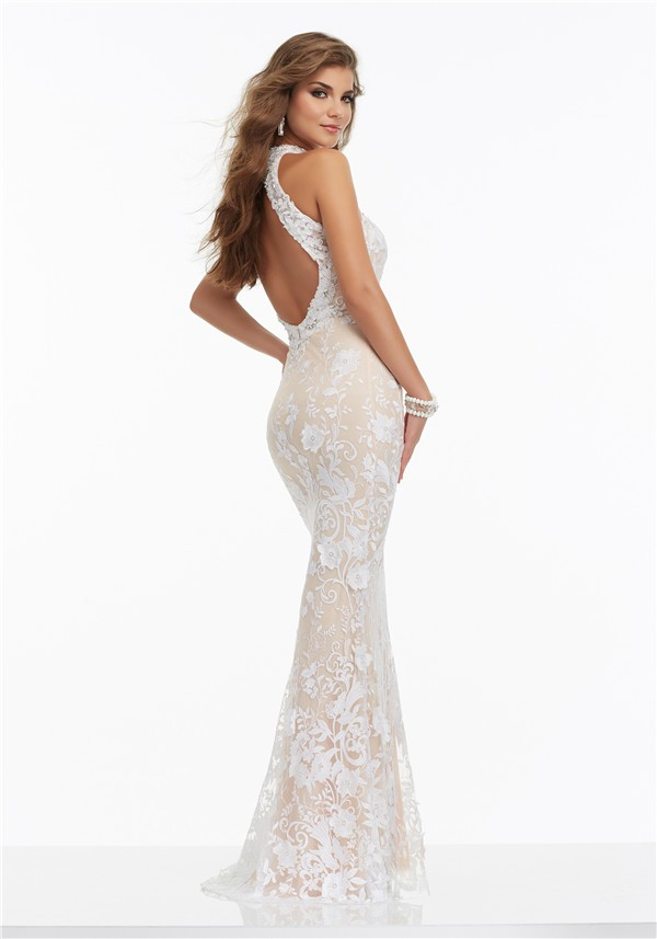 Slim Halter Open Back White Lace Beaded Prom Dress