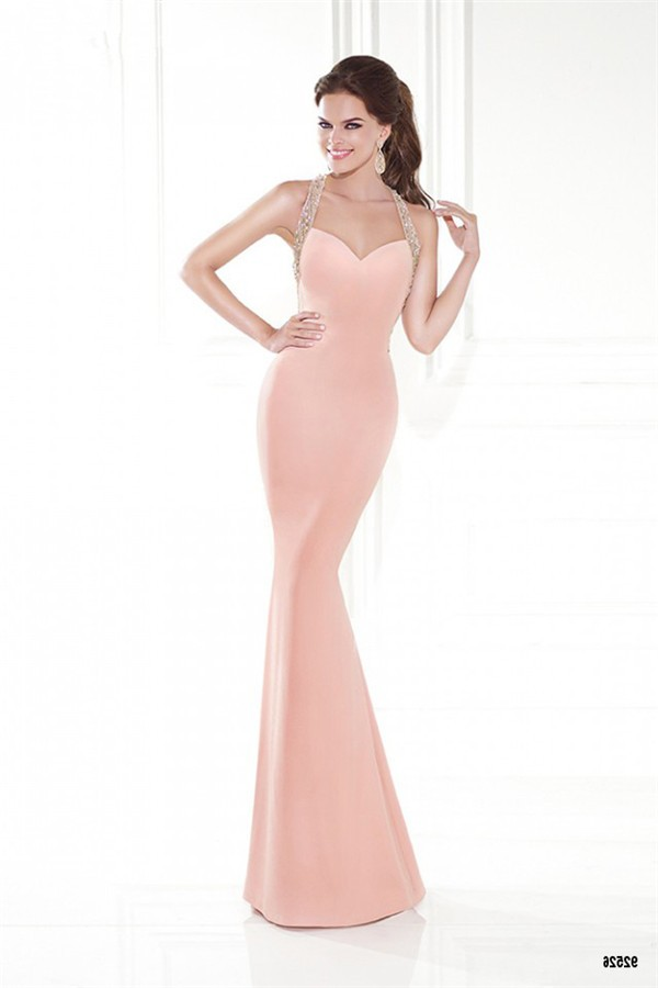 Slim Halter Sweetheart Open Back Blush Pink Satin Special Occasion ...