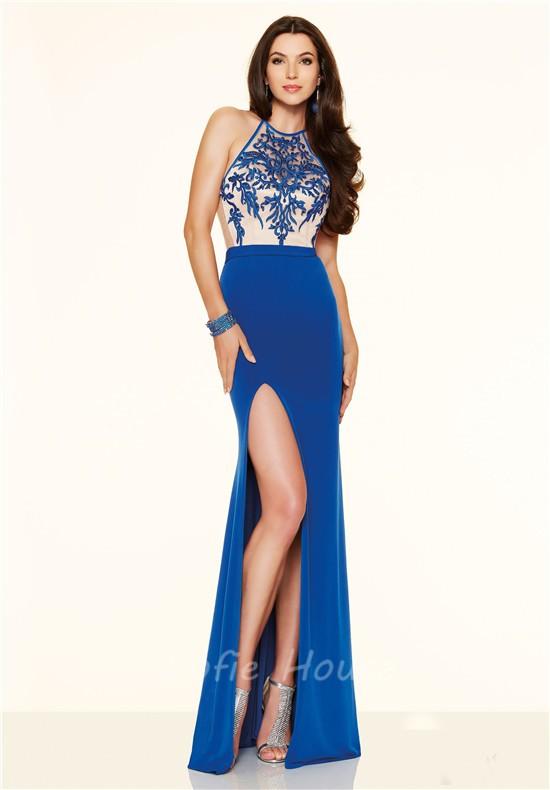 Slim High Slit Long Red Chiffon Lace Prom Dress With Spaghetti Straps