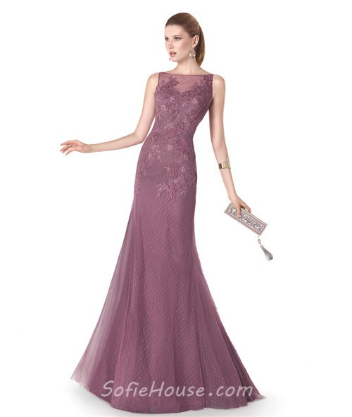 Mermaid Boat Neck Dusty Rose Tulle Lace Evening Dress