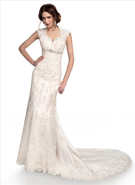 Slim Mermaid Cap Sleeve Empire Waist Lace Wedding Dress