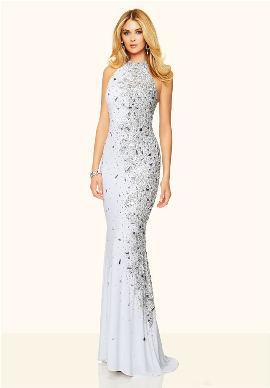 Mermaid high neck backless long white jersey unique beaded prom dress