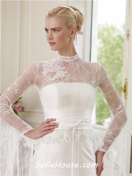 Slim mermaid illusion high neck long sleeve satin lace for Long sleeve slim wedding dresses