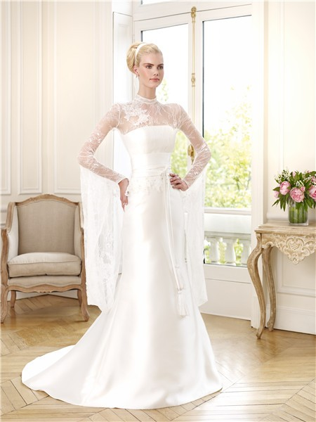 Slim Mermaid Illusion High Neck Long Sleeve Satin Lace Beaded Peplum Wedding Dress