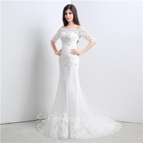 Wedding Dress Short Corset : Slim mermaid off the shoulder short sleeve lace wedding