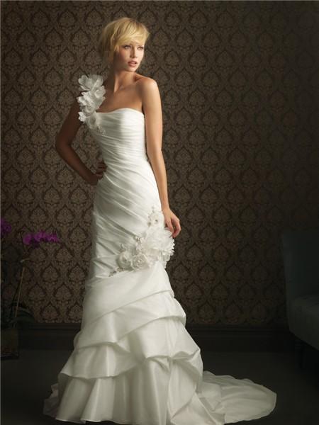Slim mermaid one shoulder taffeta wedding dress with for Taffeta mermaid wedding dress
