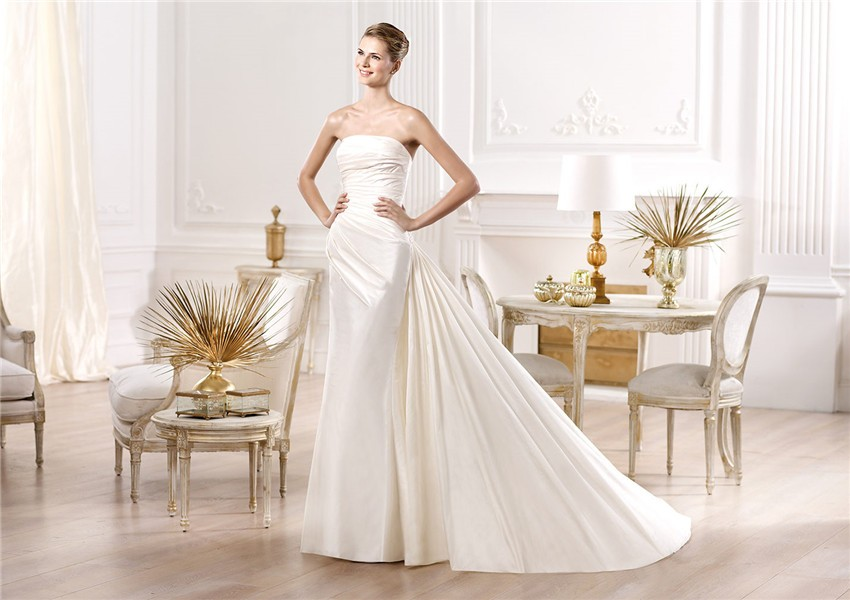 Slim mermaid strapless ruched satin wedding dress with for Detachable train wedding dress