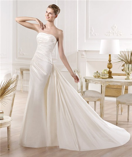 Detachable Trains For Wedding Gowns: Slim Mermaid Strapless Ruched Satin Wedding Dress With