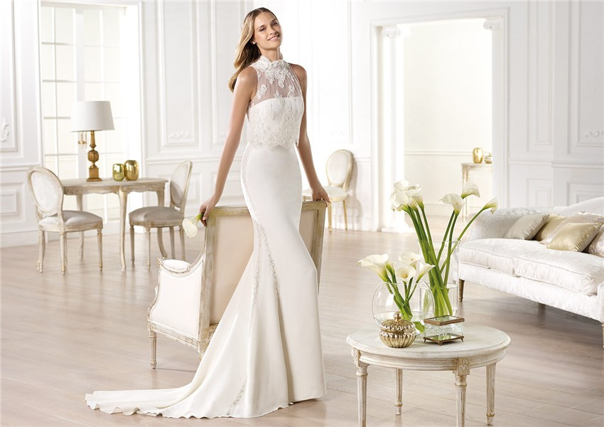 Slim Mermaid Strapless Satin Wedding Dress With High Neck Lace Jacket