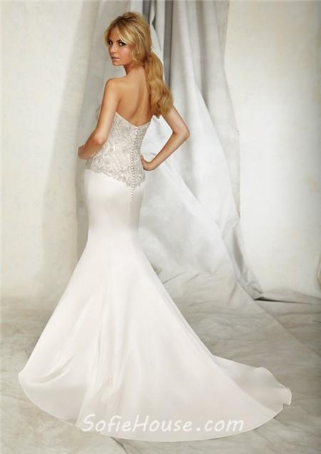 Slim Mermaid Sweetheart Satin Embroidered Wedding Dress