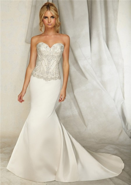 Slim mermaid sweetheart satin embroidered wedding dress for Crystal embroidered wedding dress