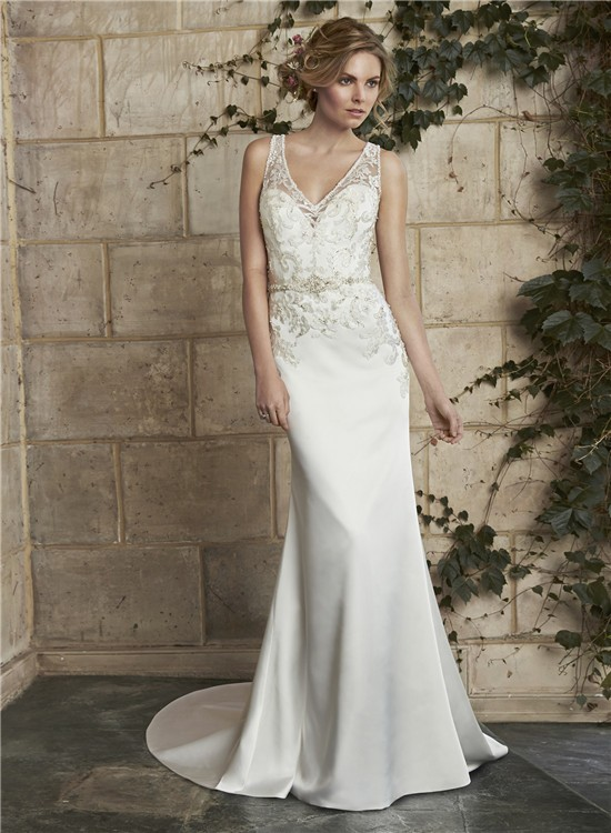 slim mermaid v neck illusion back satin applique wedding