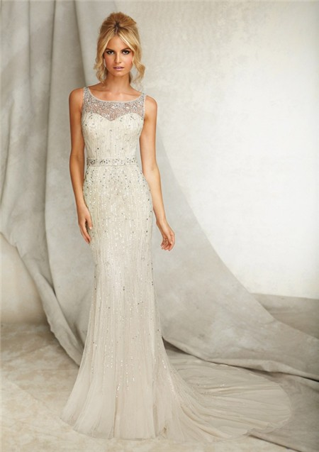 Slim sheath bateau illusion neckline open back tulle for Sheath wedding dress with beading and side drape