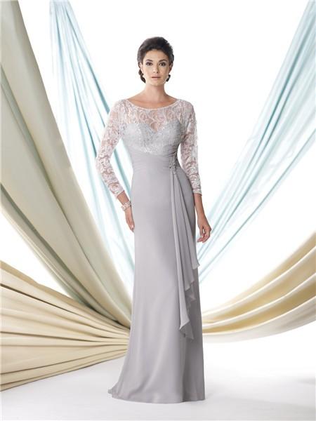 Sheath Bateau Neck Silver Chiffon Lace Sleeve Mother Of The Bride ...