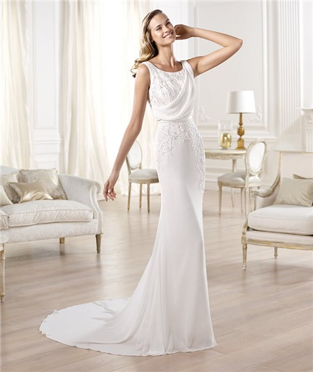 Sheath Chiffon Wedding Dress