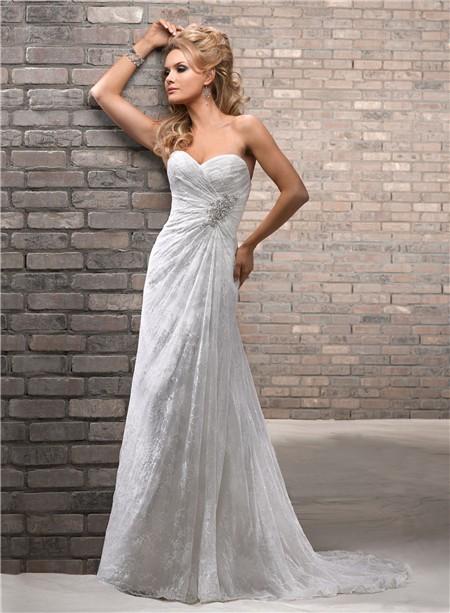 Slim Sheath Sweetheart Lace Beach Wedding Dress With