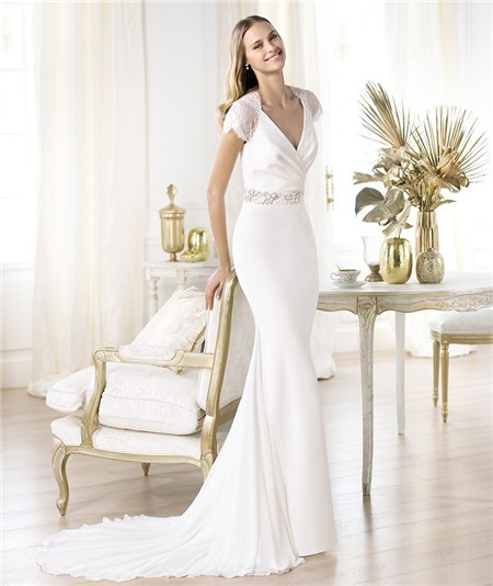 Sheath V Neck Cap Sleeve Satin Lace Chiffon Wedding Dress With Buttons
