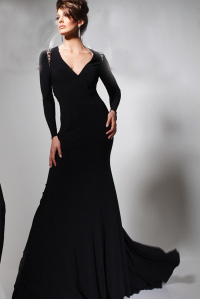 black long sleeve long evening dress | Gommap Blog
