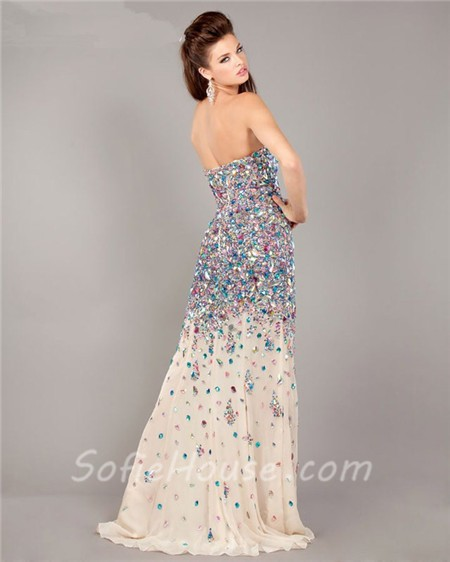 sparkly mermaid strapless high slit champagne chiffon