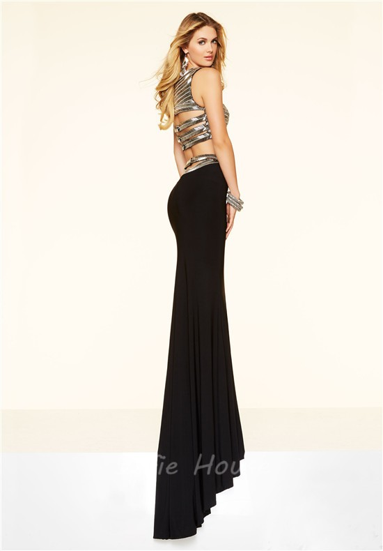 Sparkly Mermaid Two Piece Long Black Jersey Beaded Evening