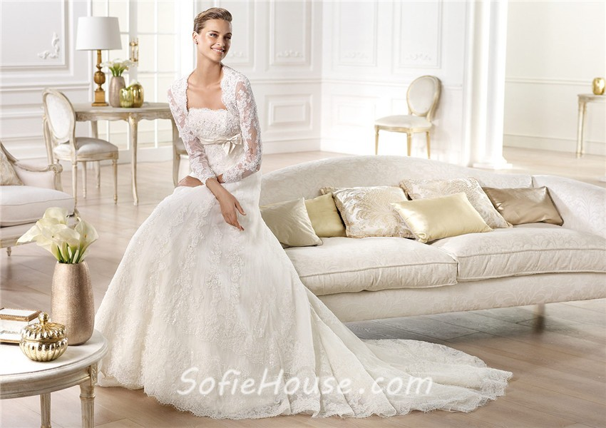 Strapless Empire Waist Maternity Beaded Lace Wedding Dress