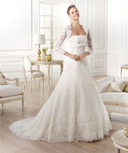 Strapless empire waist maternity beaded lace wedding dress for Long sleeve lace maternity wedding dress