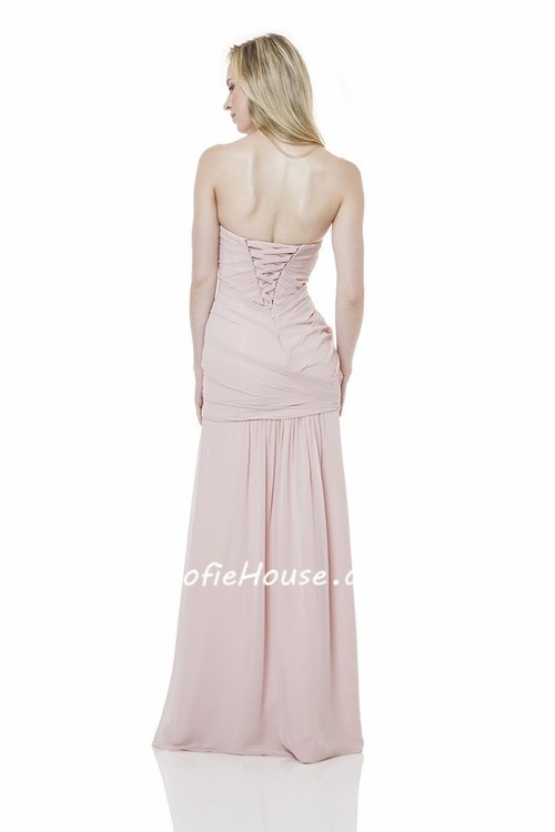 Strapless Sweetheart Drop Waist Long Blush Pink Chiffon ...