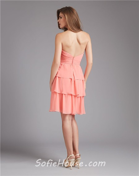 Strapless sweetheart short tiered coral chiffon wedding for Strapless dresses for wedding guests