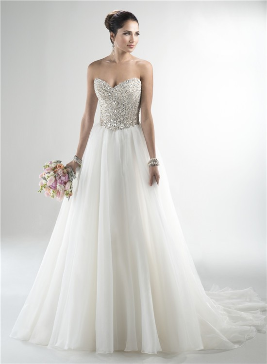 A Line Strapless Tulle Beaded Crystal Sparkly Wedding Dress