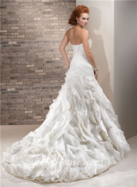 Stunning a line sweetheart layered ivory organza wedding for Organza layered wedding dress