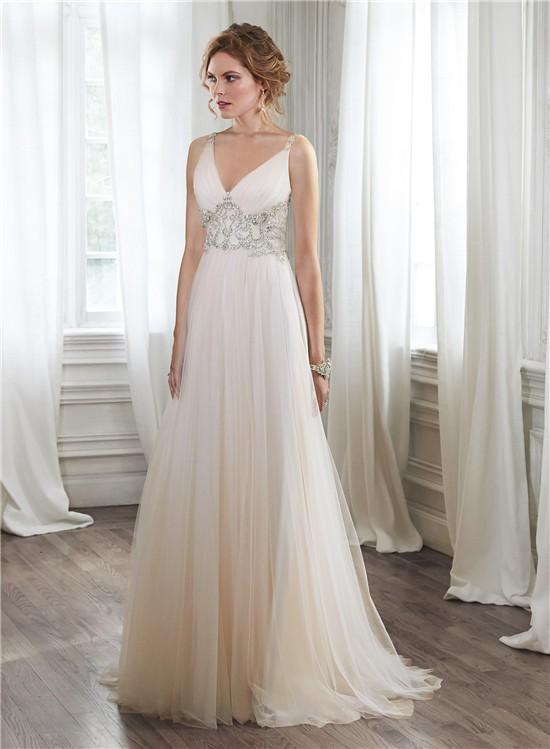 A Line V Neck Sheer Back Tulle Crystal Beaded Wedding Dress