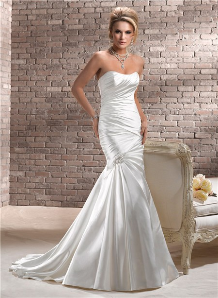 stunning fit and flare mermaid strapless ruched satin