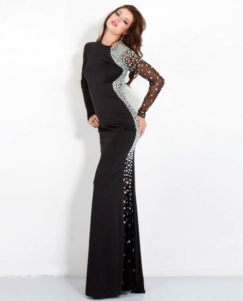 Jersey long sleeve formal dress