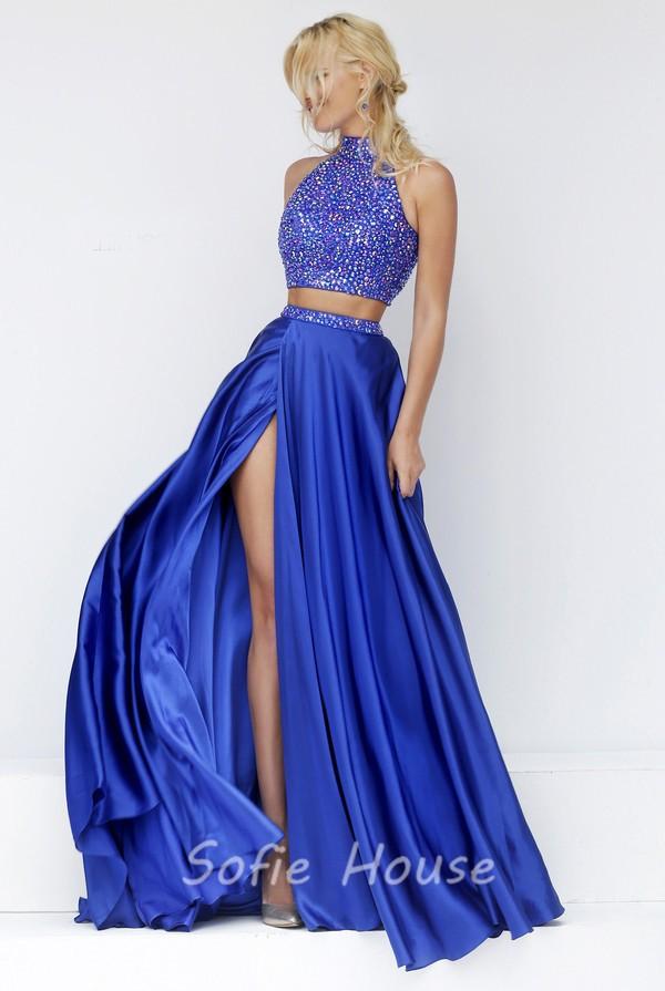 48967a68af9 Stunning Halter High Slit Two Piece Long Royal Blue Satin Beaded Prom Dress