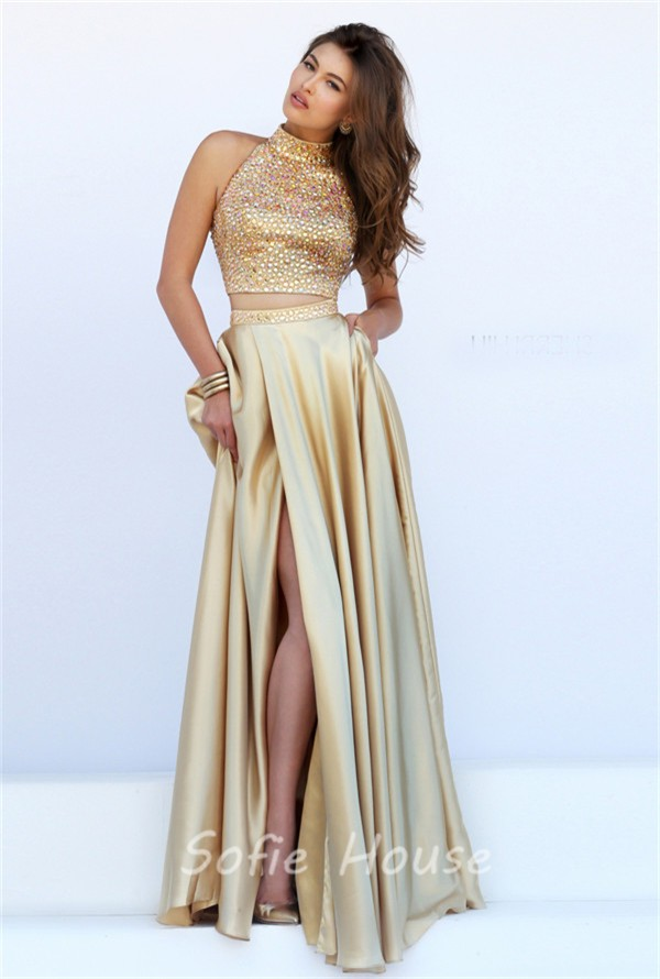 318708f9919 ... Stunning Halter High Slit Two Piece Long Gold Satin Beaded Prom Dress