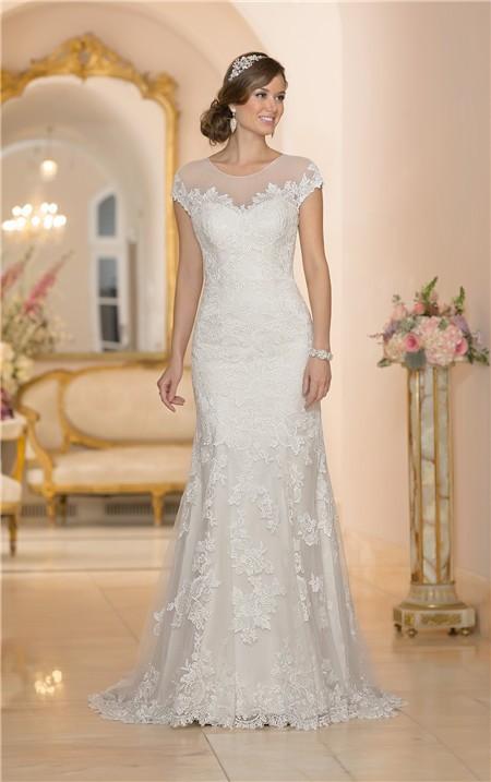 Stunning mermaid sheer illusion neckline cap sleeve for Wedding dress with keyhole back